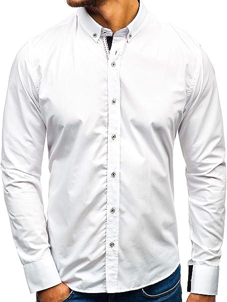 9a34a4a1de5b8 BOLF Hombre Camisa de Manga Larga Unicolor Elegante Slim Fit 2B2  Amazon.es   Ropa y accesorios