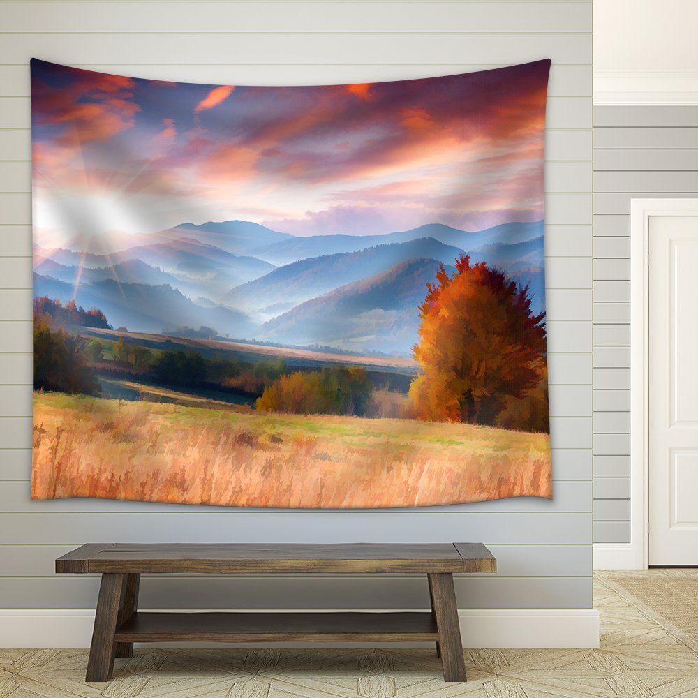 Digital Artwork In Watercolor Painting Style Colorful Autumn Morning In The Mountains Fabric Wall