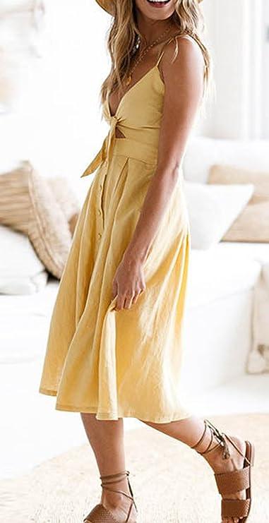 Sommer Kleider Damen Sexy Bandagen V Ausschnitt Ärmellos Trägerkleid Midi Kleid  Partykleider Fashion Einfarbig Rückenfrei Falten Neckholder Kleid ... bee47f31a5