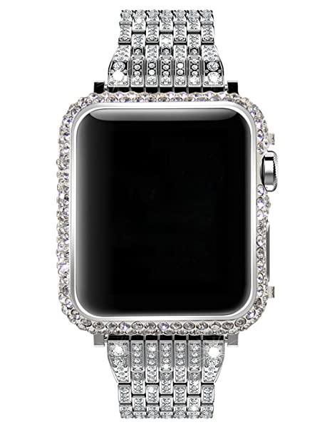 online store febd3 d33ff Callancity 42mm Bling Bling Big Rhinestone Diamonds Platinum case  Compatible with Apple Watch Series 1 Series 2 Series 3