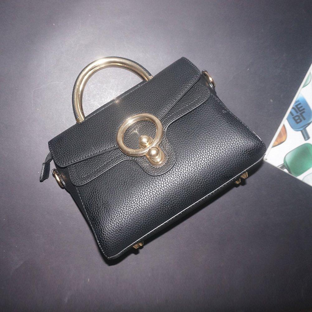 Leder Handtaschen Rindleder Ring-Paket Mode Retro Weibliche Handtasche Einfache Messenger Bag Handtaschen , schwarz