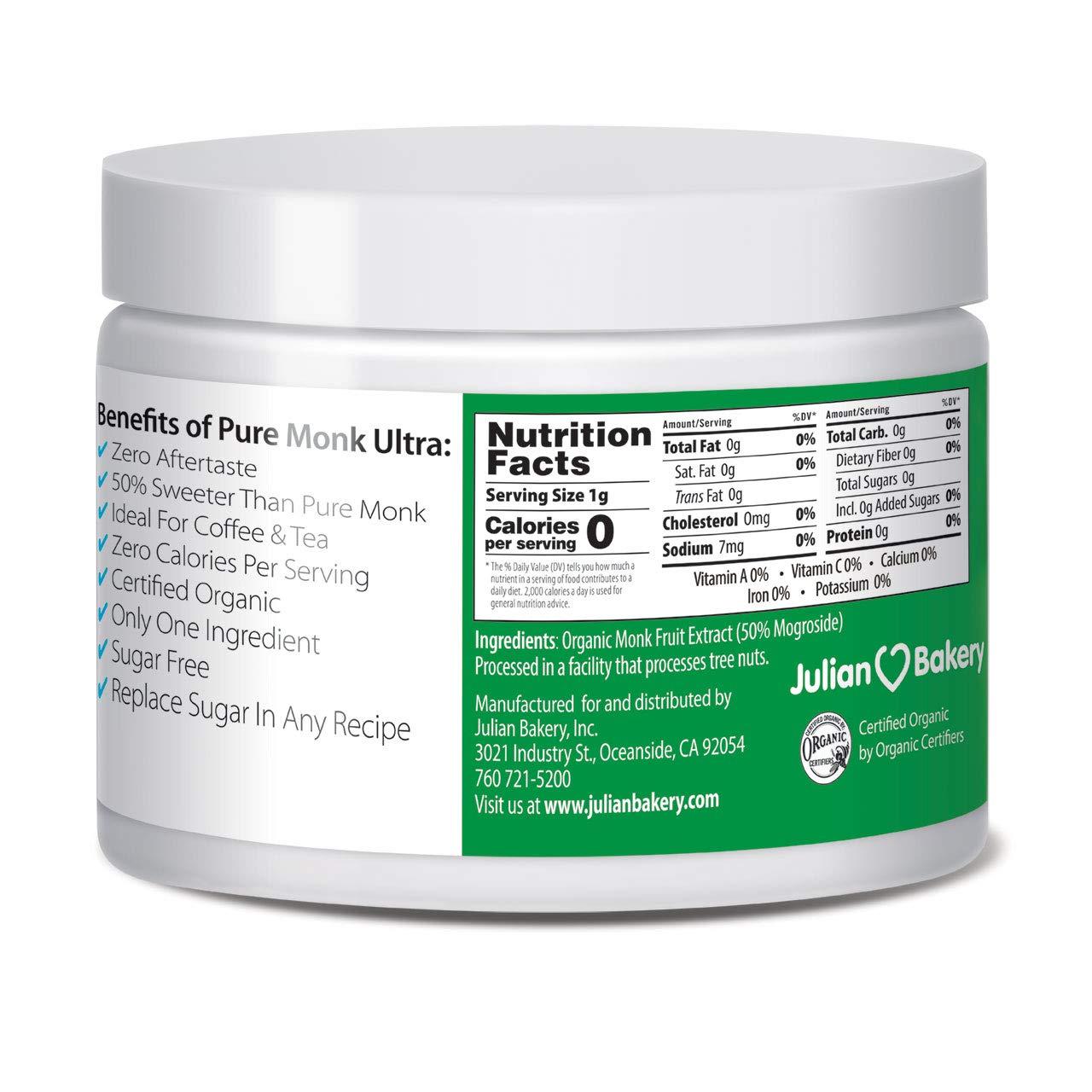 Pure Monk Ultra (Organic) (v50% Monk Fruit Extract) (0g Sugar) Sweetener 2.65 oz (75 Servings) by Julian Bakery (Image #2)