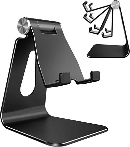 Holder Cradle Dock Aluminum Desktop Stand Compatible with All Smartphones /& Tablets Black /& Rose Gold Adjustable Cell Phone Stand Aishtec Z4 Phone Stand 2 Pack