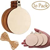 Mcree 10 Pcs Wooden Round Baubles With 10 Pcs Hemp Ropes Wooden Round Hanging Decorations Tag Shapes