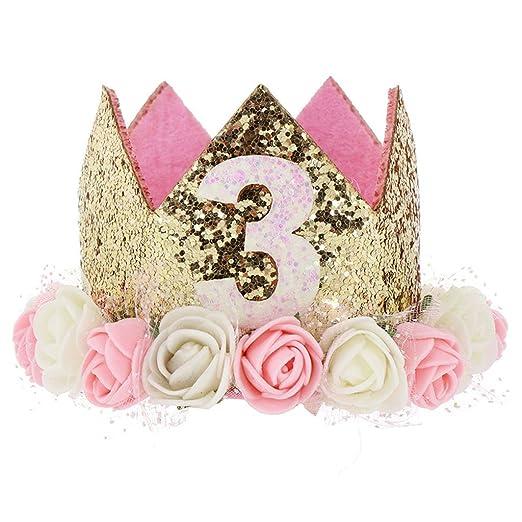 Lamdoo Corona de cumpleaños bebé niña Princesa Sombrero Oro ...