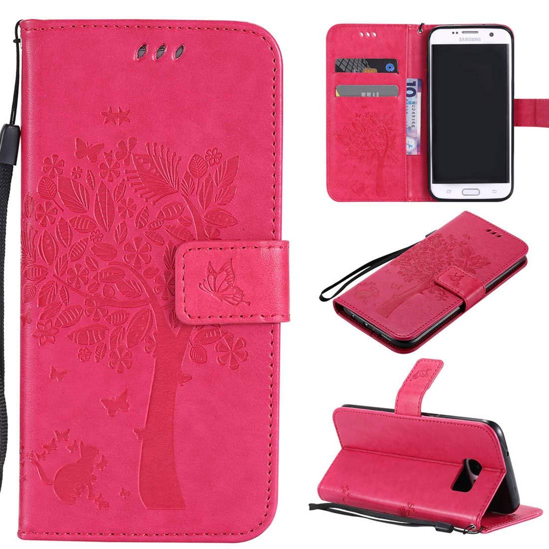 Lyzwn Coque Samsung Galaxy S7 Edge Housse en Cuir PU Flip Coque Etui Wallet Case avec Support Cartes Slots Fermeture Aimantée pour Samsung Galaxy S7 Edge Étui Motif de Couleur
