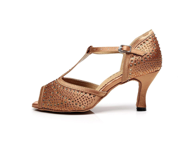 JSHOE Damen Tanzschuhe Latin T-Strap Tanzschuhe Tango Salsa / Tango Tanzschuhe / Chacha / Samba / Modern / Jazz Dance Sandalen High Heels,Braun-heeled7.5cm-UK7.5/EU42/Our43 - 37829e