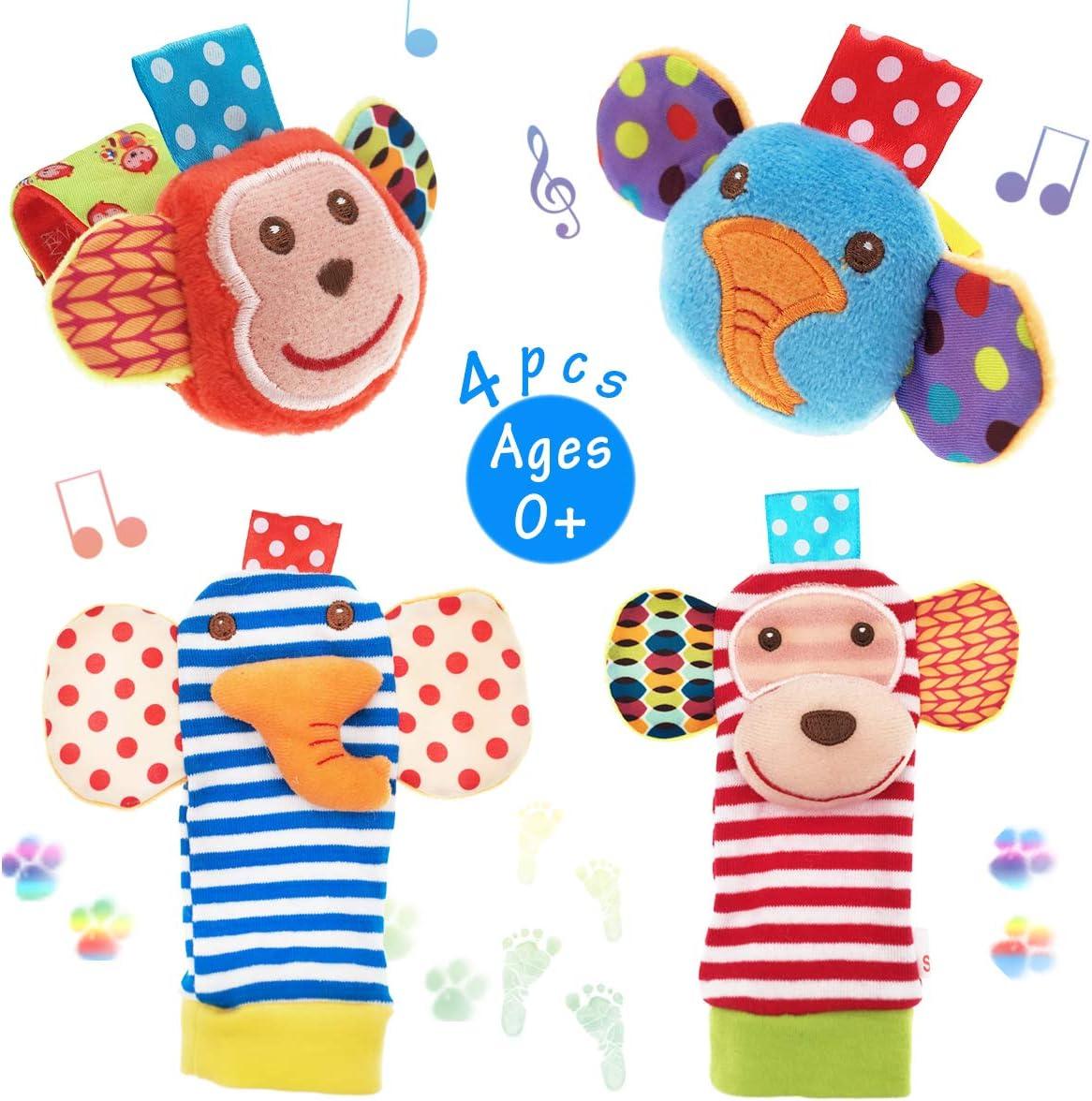 Foot Finders /& Wrist Rattles for Infants Developmental Texture Toys for Babies /& Infant Toy Socks /& Baby Wrist Rattle Newborn Girls /& Boys Boy Girl Toys 0-3 Months Zebra /& Giraffe
