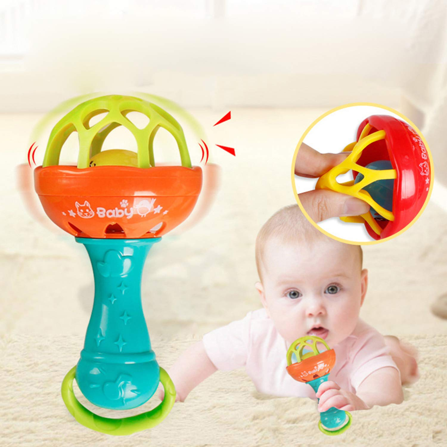 Loveje Soft Glue Stick Multi-Function Baby Hand Rattle Toy with Teether Small Ball Baby Jingle Shaking Bell Baby Educational Toys Spin Rattle Gift for 0-1 Year Old boy Girl 1PCs