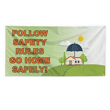 Amazon Com Follow Safety Rules Go Home Safely Outdoor Fence Sign