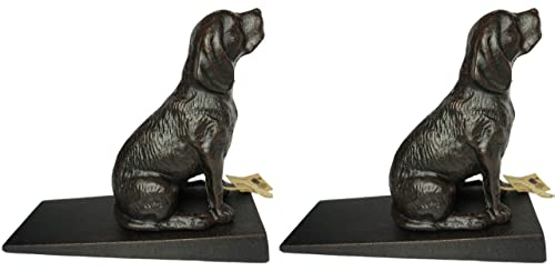 Lulu Decor Cast Iron Heavy Duty 6 lbs 9 oz Dog Door Stoppers with Base, Each Measures 7 H, 3.5 W and 8.25 L, Cute, Good Looking Dogs, Set of 2 Door stoppers