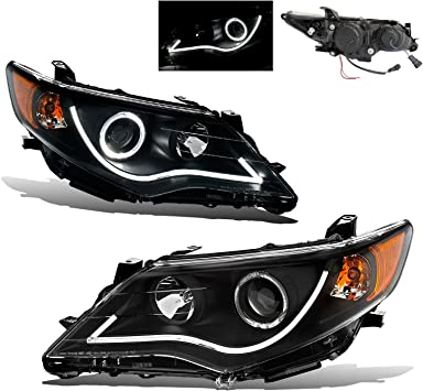 Fits 2012 2013 2014 Toyota Camry Black Smoked Projector Headlights Pair Lamps