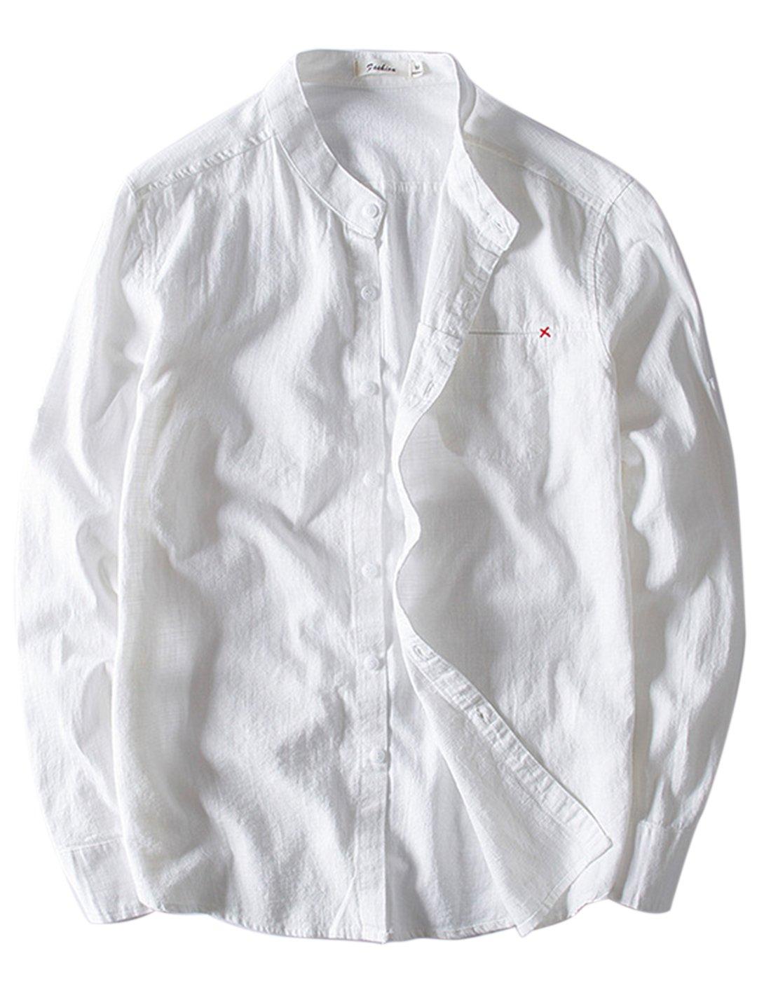 Lentta Men's Casual Long Sleeve Lapel Collar Linen Cotton Button Down Work Shirts (Medium, White)