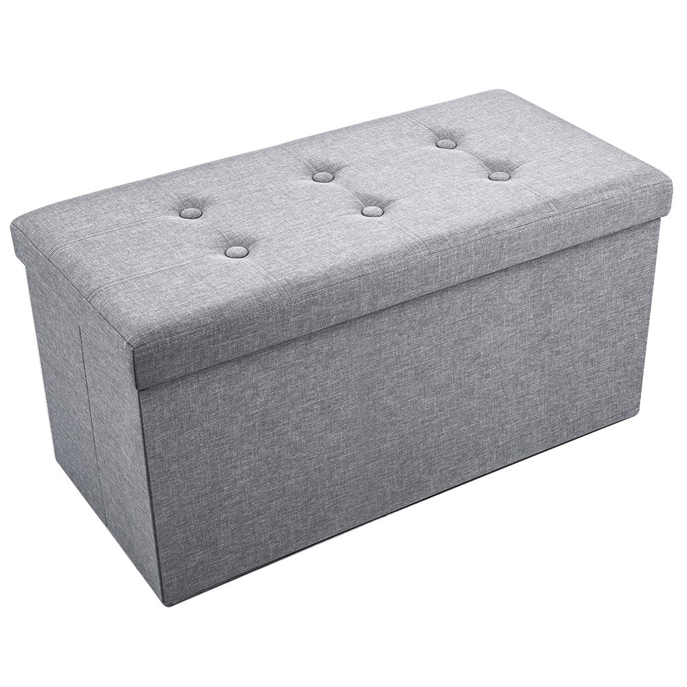 Sable Storage Ottoman Folding Bench with Highly Elastic Sponge Filling, Linen Foot Stool, Foldable Seat Bench & Footrest, Bed Bench, 30 x 15 x 15 in - Gray by Sable