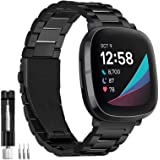 HATALKIN Band Compatible with Fitbit Sense Bands and Fitbit Versa 3 Bands, Solid Stainless Steel Wrist Watch Band Metal Repla
