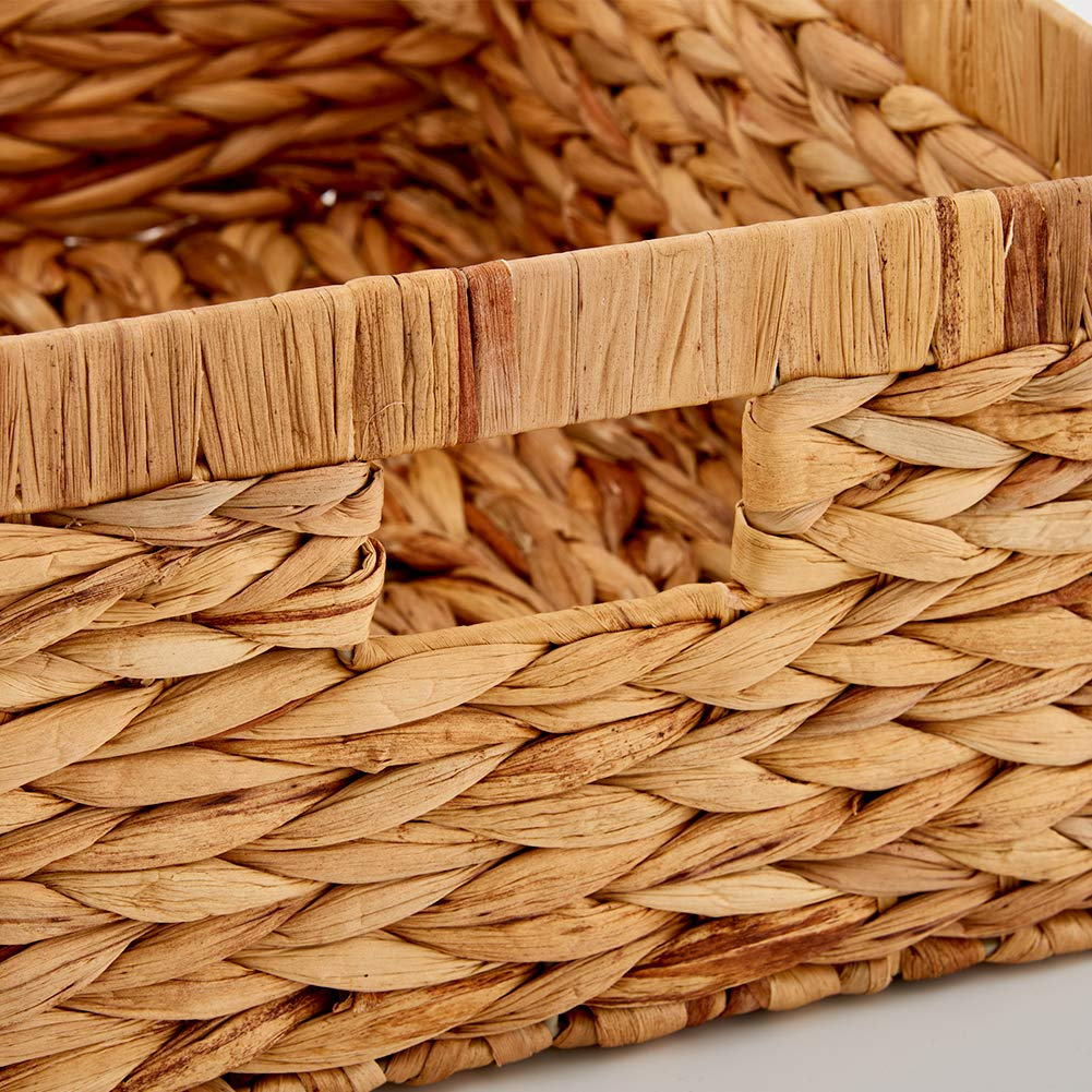 EZOWare Set of 3 Natural Woven Water Hyacinth Nesting Wicker Storage Baskets Organizer Container Bins with Handle