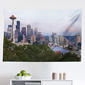 """Lunarable Seattle Tapestry, Downtown City Photograph with Mount Rainer at The Sunset Touristic Attractions, Fabric Wall Hanging Decor for Bedroom Living Room Dorm, 45"""" X 30"""", Ceil Blue"""