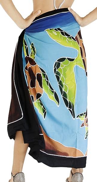 accdc376ab LA LEELA Rayon Women Wrap Swimsuit Cover Up Sarong Printed  78 quot X43 quot  Black 4576