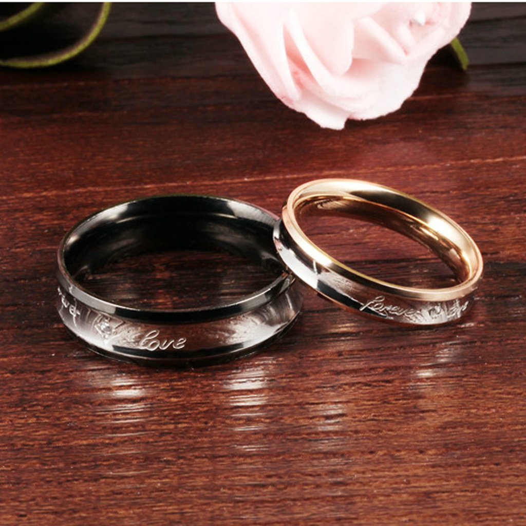 Bishilin Stainless Steel Couple Rings forever love Wedding Rings and Bands for Women and Men Women Size 9 /& Men Size 10