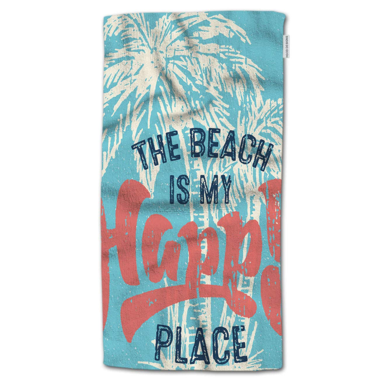 HGOD DESIGNS Bath Towel Summer,Vintage Beach is My Happy Place Sign with Palm Tree Bath Towel Throw Blanket Beach Towel 64 Lx32 W