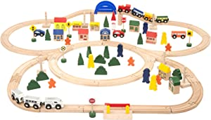 Battat - Deluxe Wooden Train – Classic Wooden Toy Train Set with Magnetic Trains, Tracks, Vehicles, Buildings & Accessories for Kids Aged 3 & Up (102Pc)