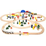 Battat - Deluxe Wooden Train – Classic Toy Train Set with Magnetic Trains, Tracks, Vehicles, Buildings & Accessories for…