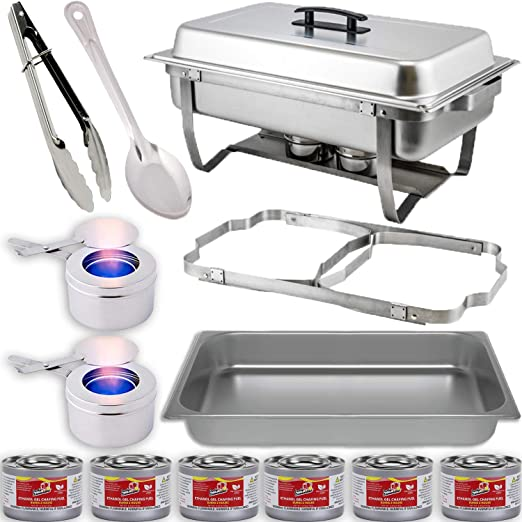 PACK OF 6 STAINLESS STEEL CHAFING DISH SETS WITH 9L FOOD PANS FUEL SPOONS