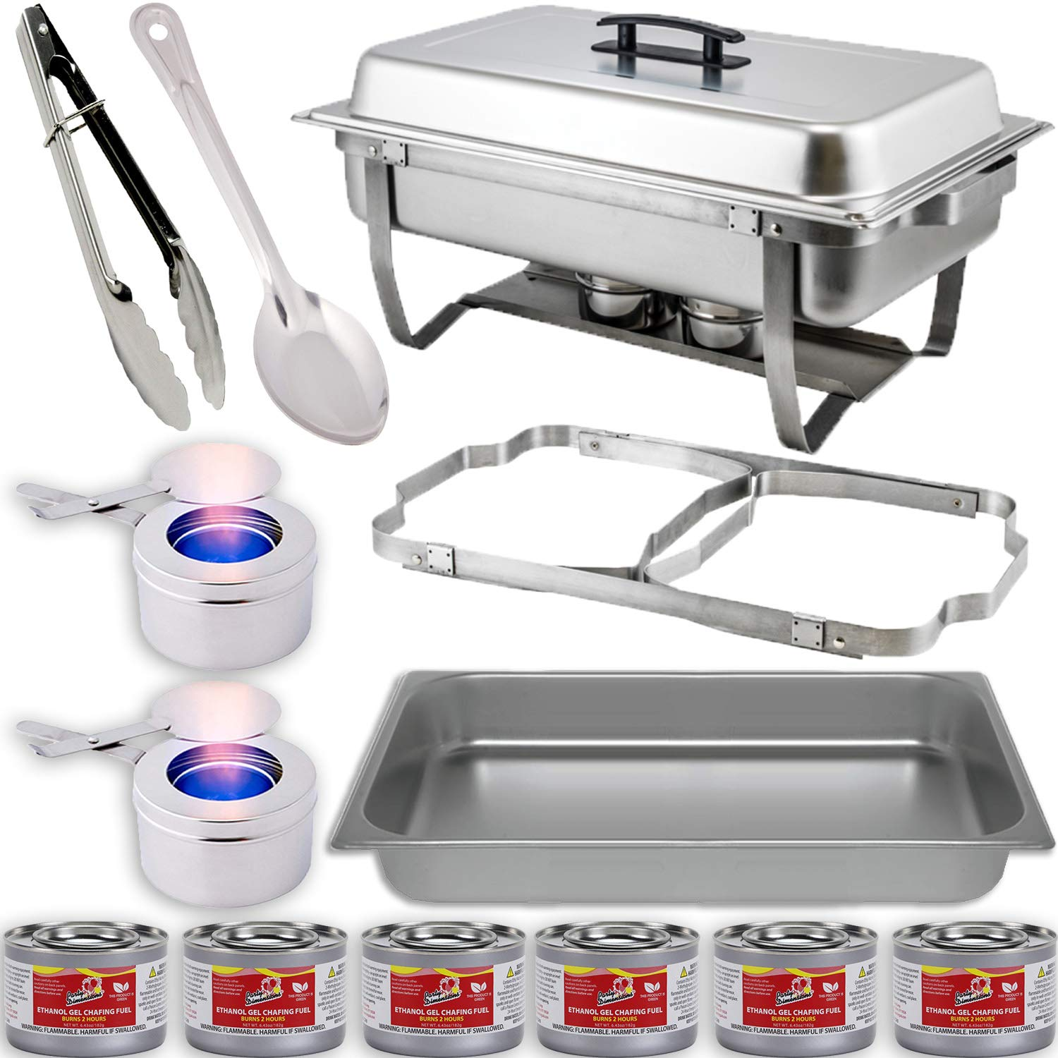 Chafing Dish Buffet Set w/Fuel - Folding Frame + Water Pan + Food Pan (8 qt) + 2 Fuel Holders + 6 Fuel Cans + Serving Utensils (15'' Solid Spoon + 9'' Tong) - Full Warmer Kit