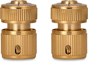 VERAT 1/2 Inch Garden Hose Connector Set of 2, Brass Water Horse Connection, Quick Connect Water Pipe Joint, Garden Hose Fittings