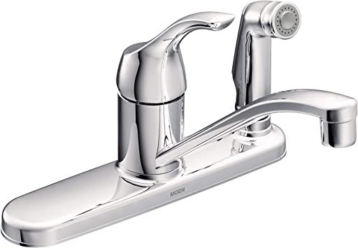 MOEN CA87554C Adler Low Arc Kitchen Faucet with Side Spray in Chrome