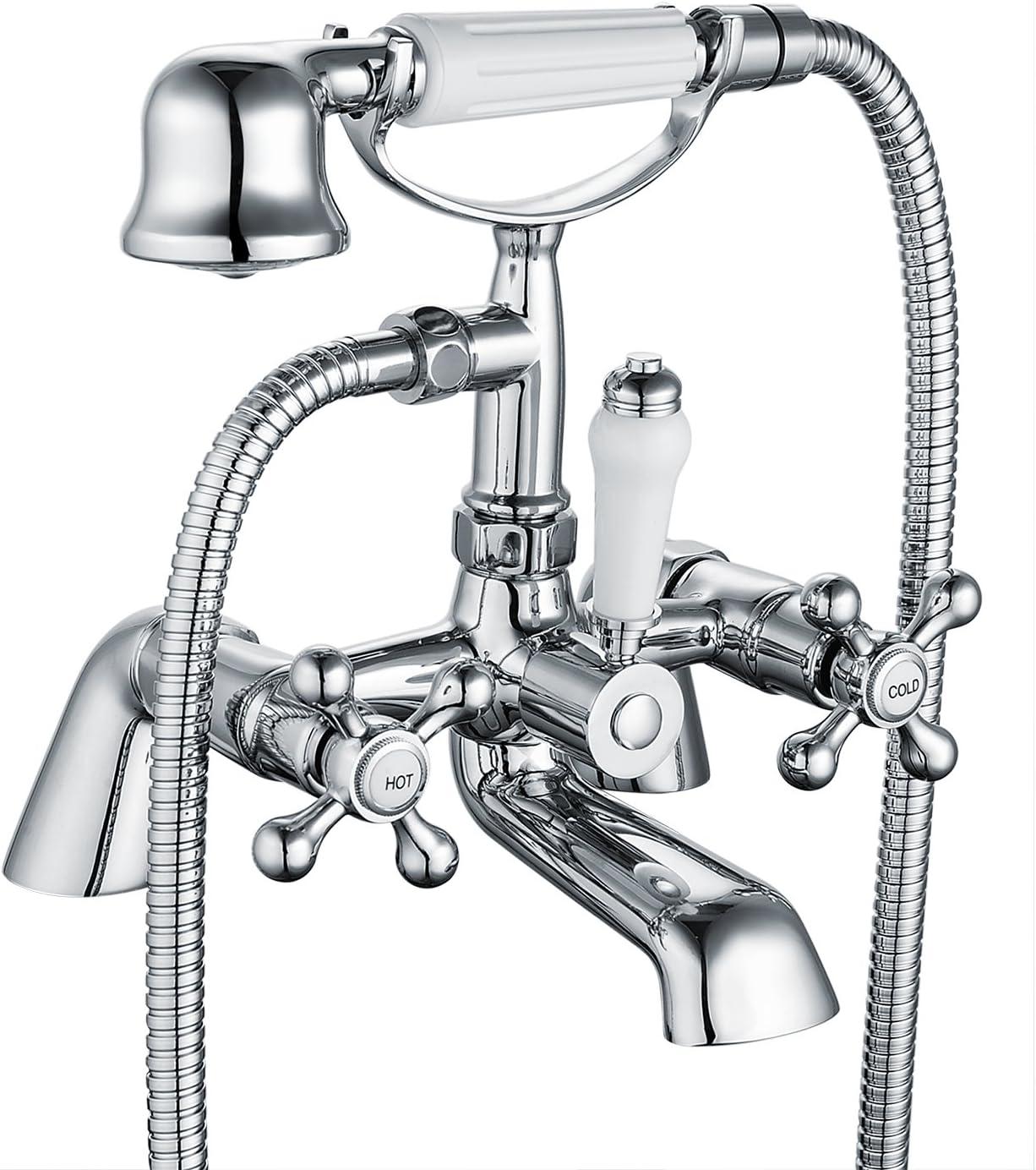 Funime 05 O Victoria Bath 1/4 Turn with Handheld Bathroom Shower Taps Ceramic Dual Lever, Chrome