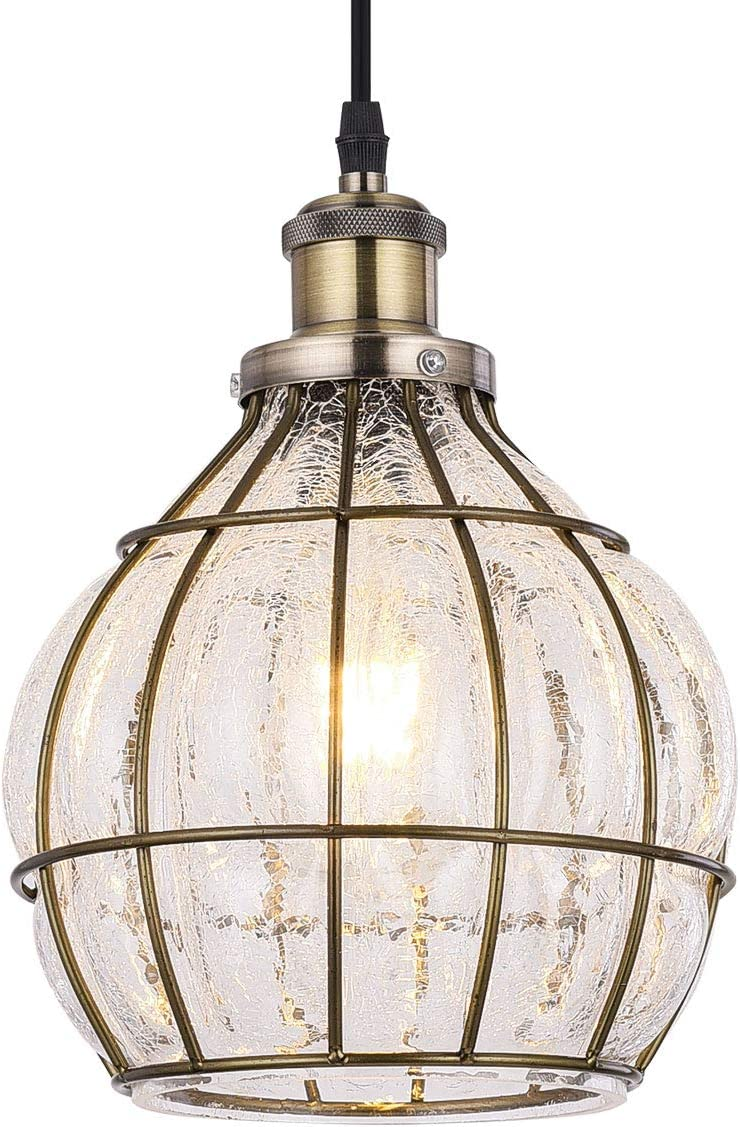 Tausende Glass Pendant Light Kitchen Island Light Fixture Ceiling Hanging Industrial Vintage Chandelier for Dining Room, Entryway, Living Room, Cracked Glass and Metal Bronze Oil Rubbed Cage