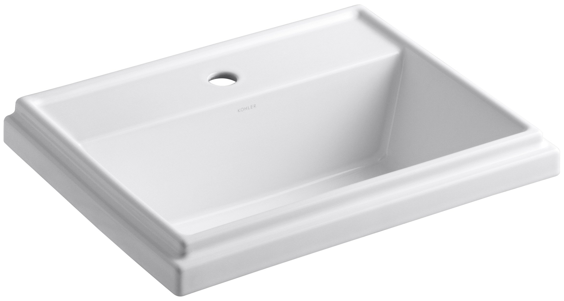 KOHLER K-2991-1-0 Tresham Rectangle Self-Rimming Bathroom Sink with Single-Hole Faucet Drilling, White by Kohler