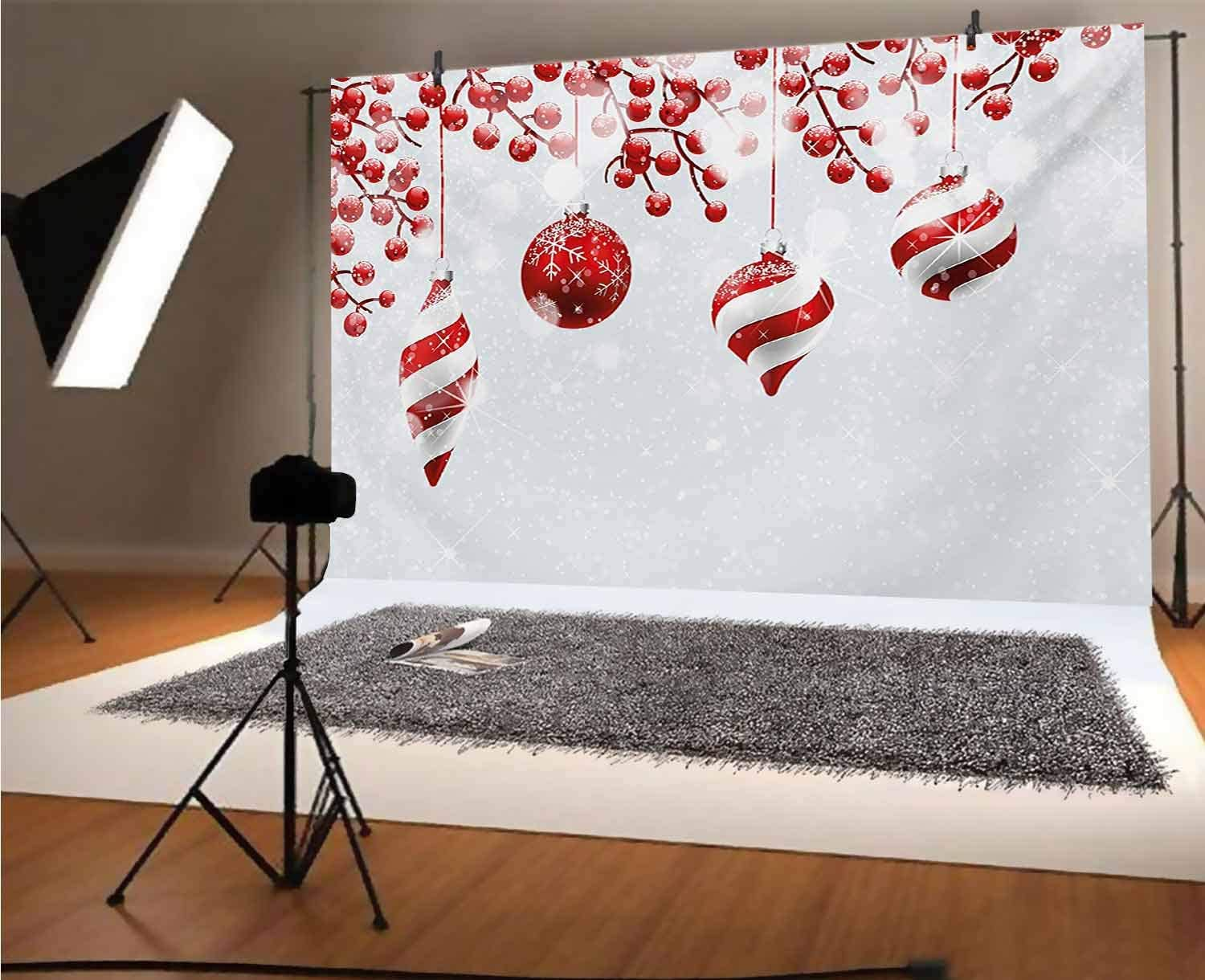 Christmas 8x6 FT Vinyl Photography Backdrop,Traditional Design Icons Holly Berry Branches with Snow and Bokeh Effect Print Background for Baby Birthday Party Wedding Studio Props Photography