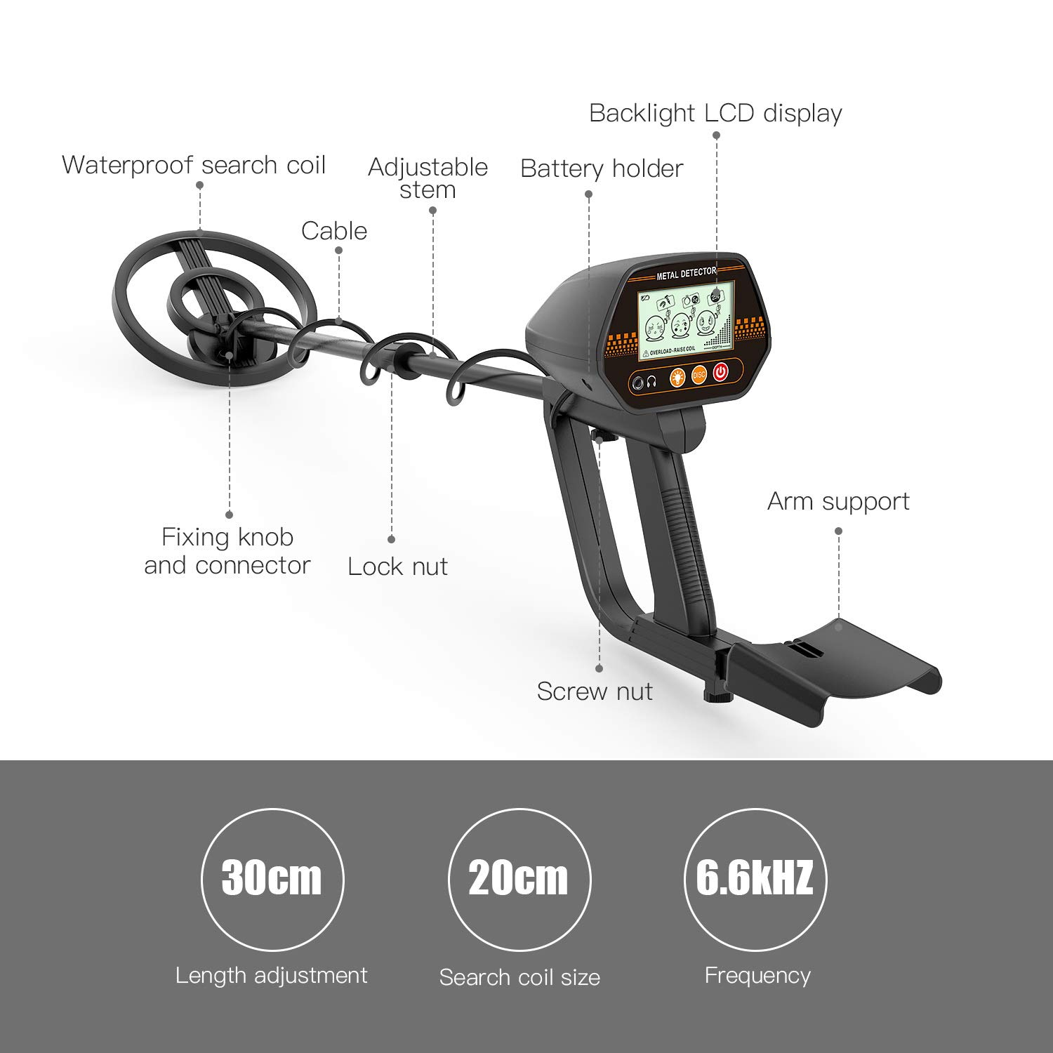 Metal Detector, 3 Modes Adjustable Waterproof Detectors 24 -45 with Larger Back-lit LCD Display, 3 Audio Tone DISC Mode – Carrying Bag and Batteries Included, Easy to Operate for Adults and Kids