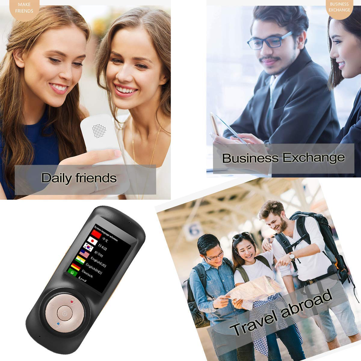 Translator Device Smart Voice Translator with 2.4inch HD Touch Screen Support Various Languages for Travelling Abroad Learning Shopping Business Chat Instant Two-Way Translation