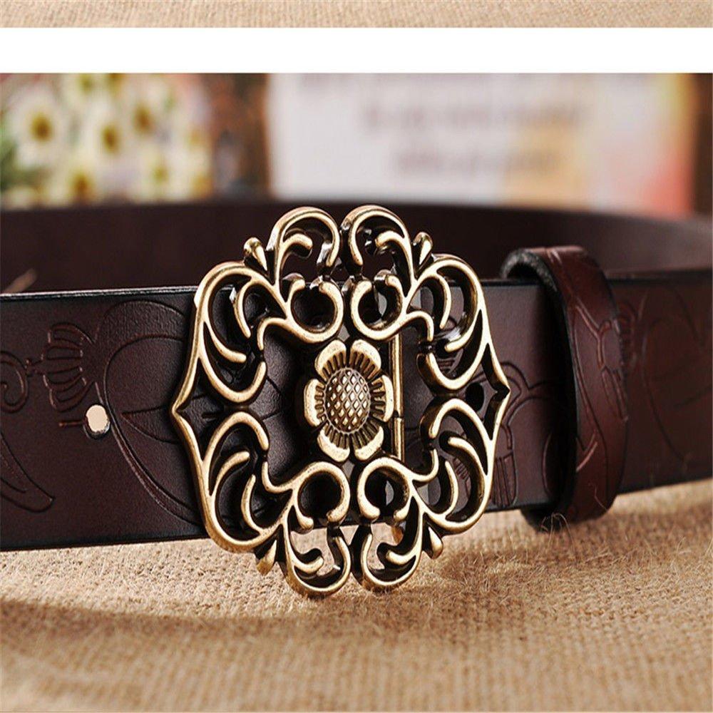 NSSBZZ Birthday Gifts Hundred Retro Buckle Women Belt Printing Belt Jeans Wide Belt Hollow Waist Seal