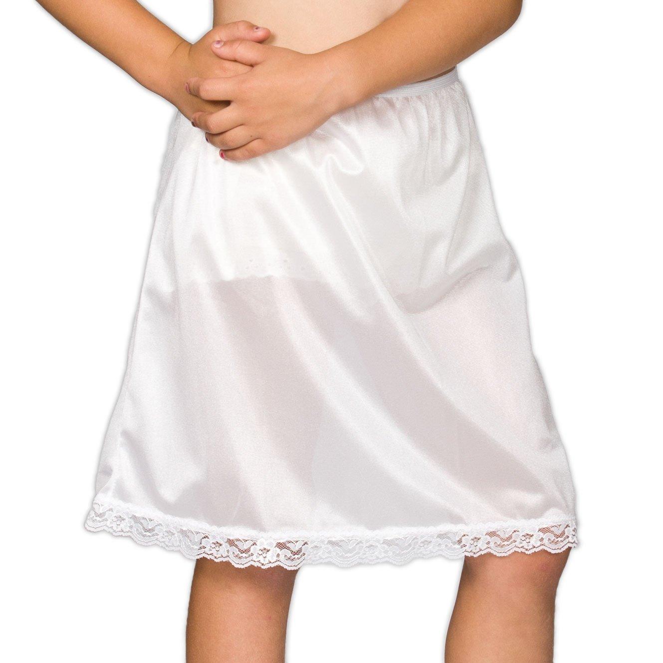 I.C. Collections Big Girls White Nylon Half Slip, 8