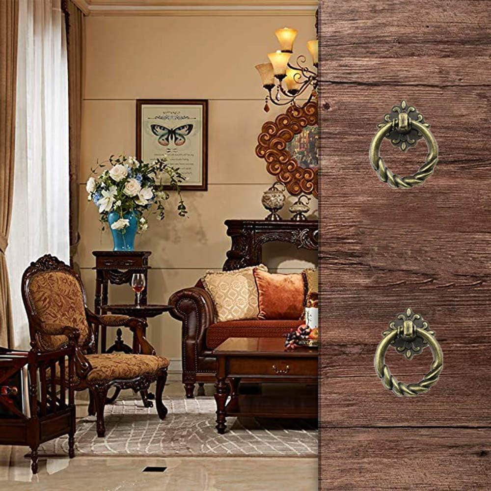 6pcs Pomos Vintage Puerta Retro,Manija del tir/ón del caj/ón retro lat/ón antiguo perilla de la manija del anillo del tir/ón del caj/ón muebles de la cocina del estilo europeo