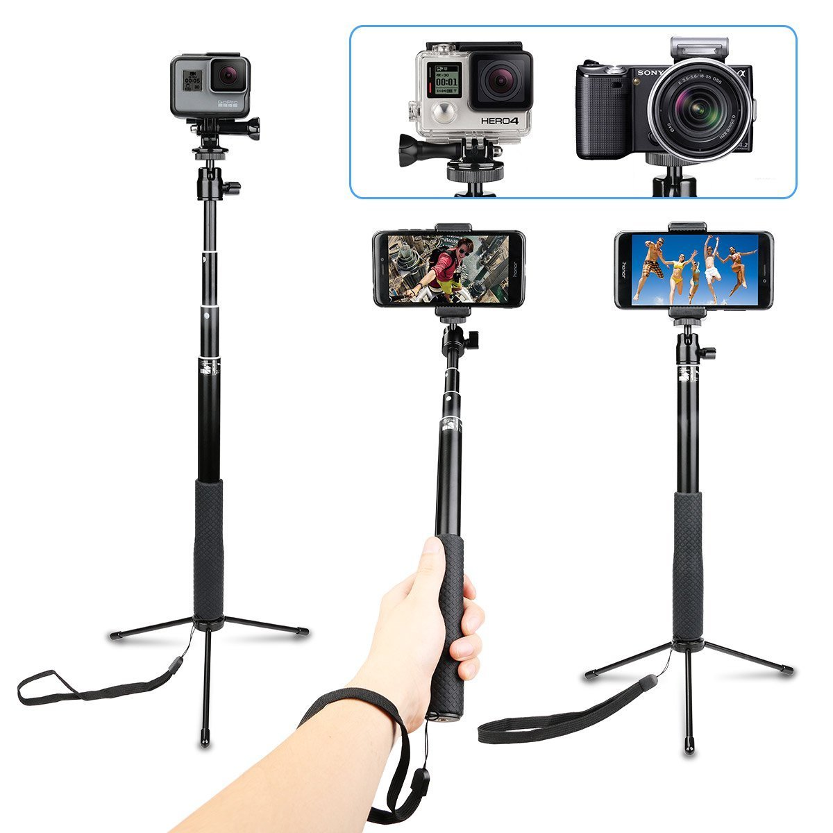 AnKooK Waterproof Extendable Selfie Stick with Universal Mini Tripod Stand for Gopro Hero 6/5/Yi/AKASO EK7000/Brave4/APEMAN/DBPOWER/Campark/Crosstour Sports Action Camera and More(37 inch) SS002 by AnKooK