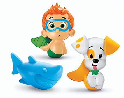. Fisher Price Bubble Guppies  Bath Squirters  Nonny  Bubble Puppy and Shark