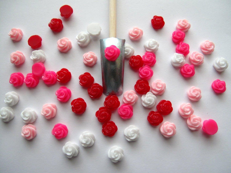 So Beauty 60pcs Mix Flower 3D Nail Art DIY Nail Decoration 8mm