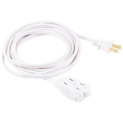 GE 12 Ft Extension Cord, 3 Outlet Power Strip, 2 Prong, 16 Gauge ...