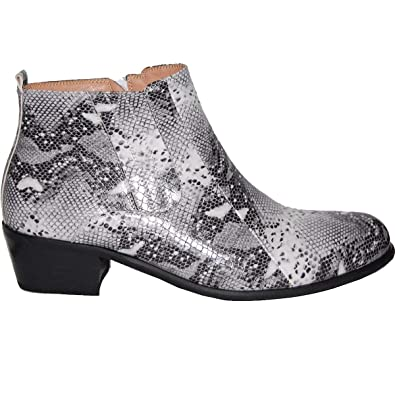 b2873109e8f KRAZY SHOE ARTISTS Retro 2 Inch Cuban Heel Snake Print Men s Beatle Boot  Look (8