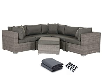 Stellahome Patio Loveaseat Rattan Outdoor Thick Cotton Sofa Set Ottoman Furniture Set All Weather Wicker Corner Sofas Love Seat W/Free 1 Toss Pillow