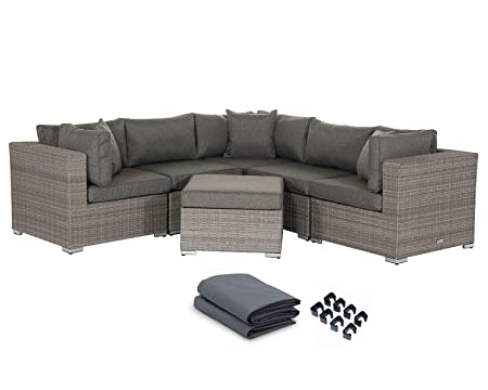 Outdoor Conversation Sets Rattan Patio Furniture No Assembly Wicker Ottoman Aluminum Outside Sectional Couch Sofa Patio Seating 6pcs Backyard Furniture w Free Waterproof Cover- 3Toss pillows