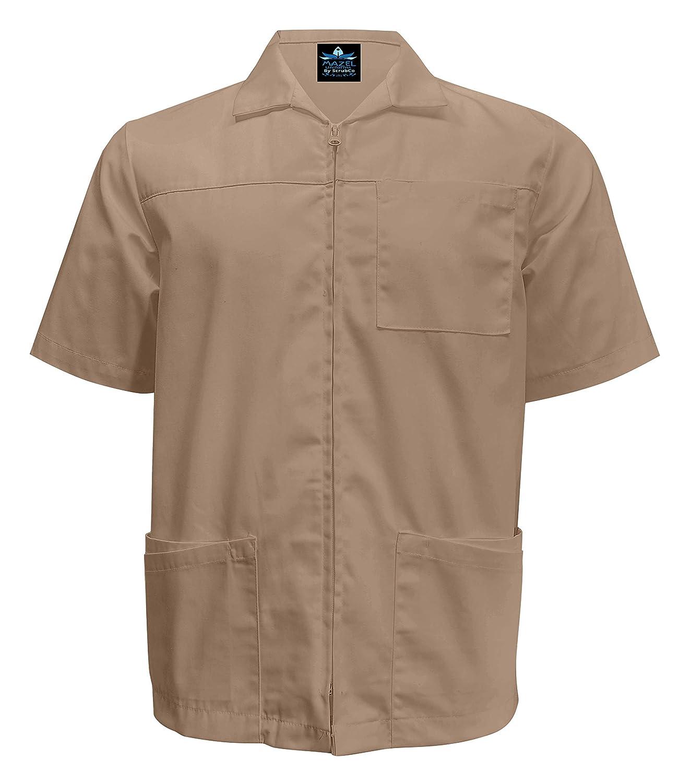 MAZEL UNIFORMS Mens Zippered Short Sleeve Scrub Jacket and Barber Shirt