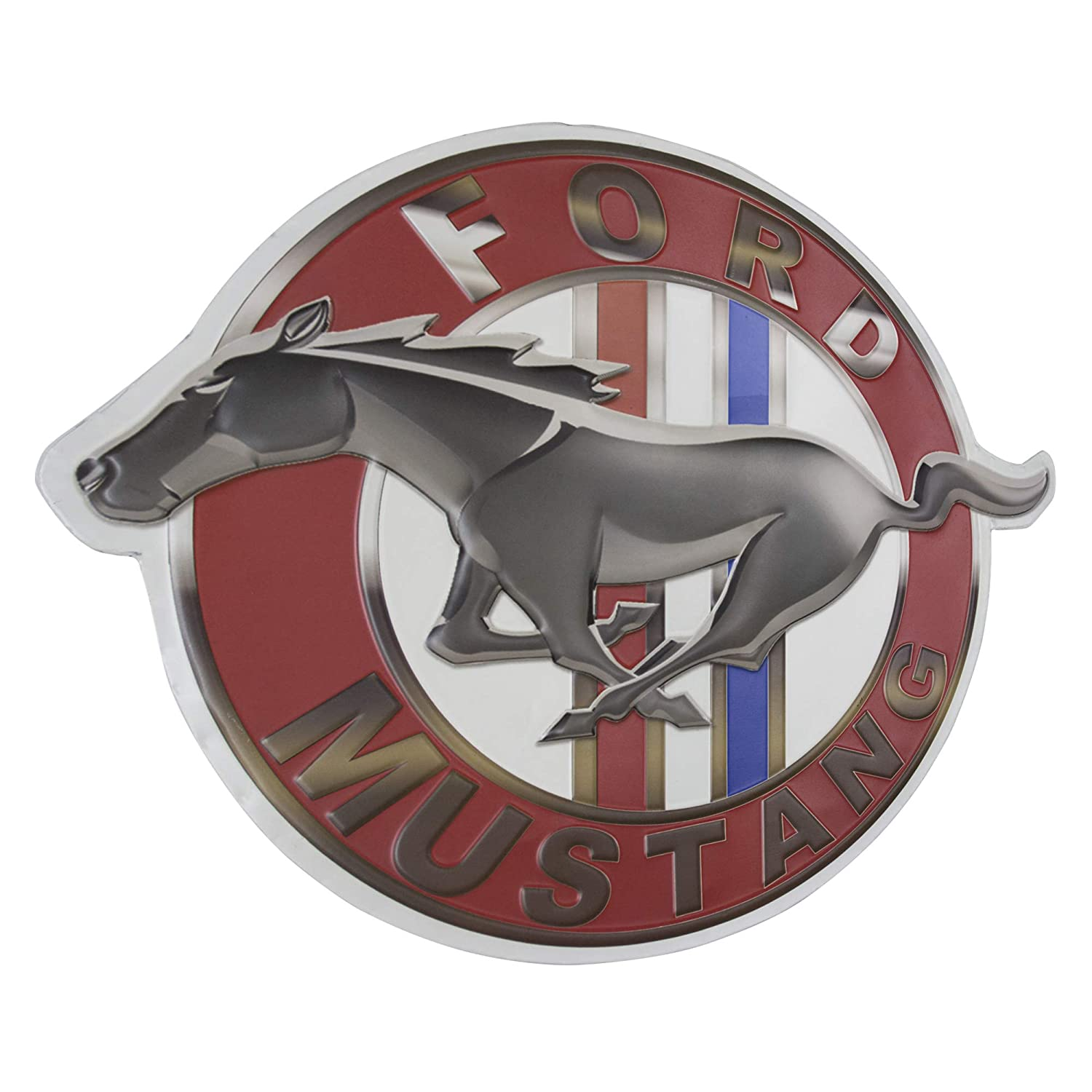 Officially Licensed Vintage Ford Mustang Logo Embossed Metal Wall Decor Sign for Bar, Garage or Man Cave