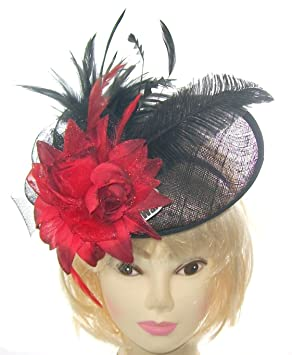 Striking Black and red fascinator hat hatinator with slanted band for  special events  Amazon.co.uk  Beauty 1018cb550d6