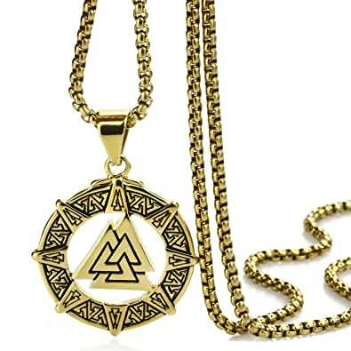 Elfasio stainless steel gold pendant necklace mens boys valknut elfasio stainless steel gold pendant necklace mens boys valknut scandinavn odin symbol norse viking chain aloadofball Gallery